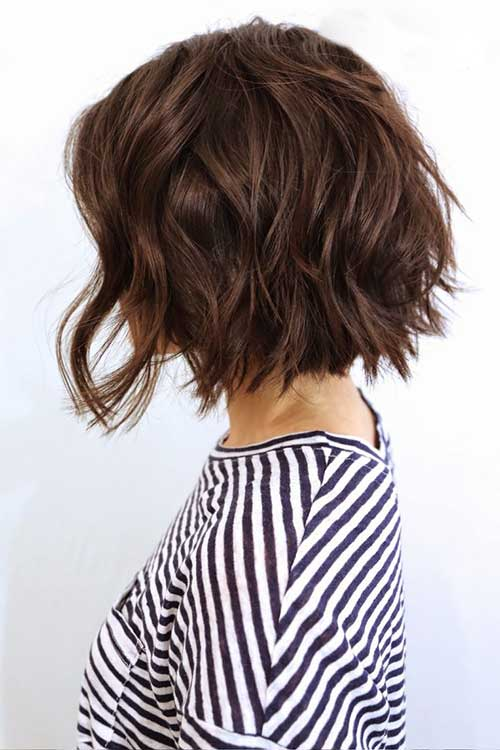 Wavy Choppy Short Dark Bob Hairstyles