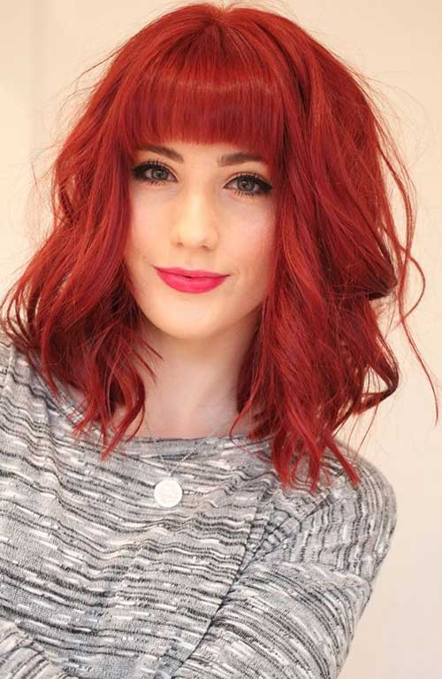 Shoulder Wavy Red Bob Hair with Bangs