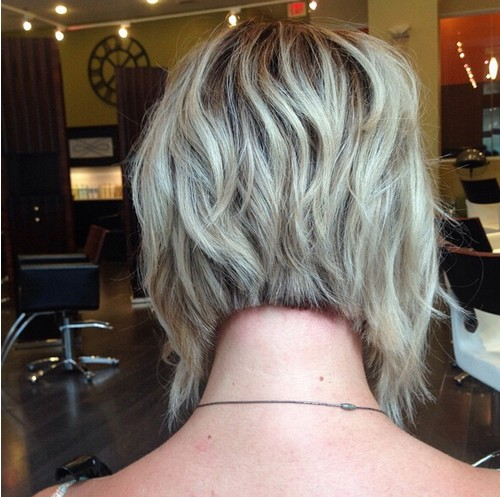 Angled, Layered Short Bob Haircut