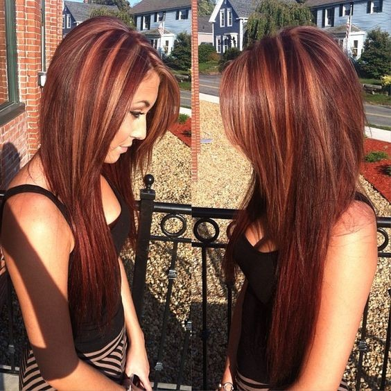 Mahogany Hair Color, Dimensional Color, Highlights - Balayage Hairstyles with Straight Long Hair