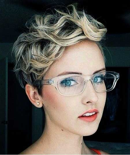 Ash Blonde Curly Pixie