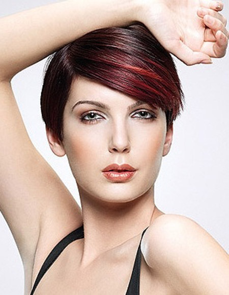 Charming Pixie Cut with Hues of Red Color