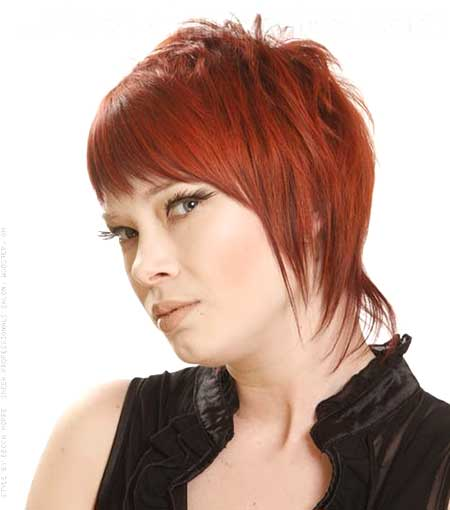 Red Colored Short and Edgy Hair Idea