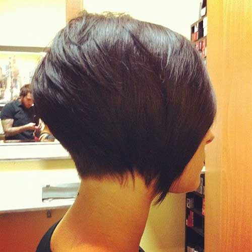Short Shaved Dark Bob