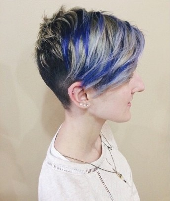 Pretty Blue Color for Short Hair - Stylish Short Hairstyles 2018