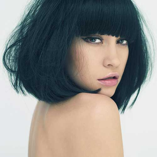 Long Dark Bob with Bangs Hairstyles for Thick Hair