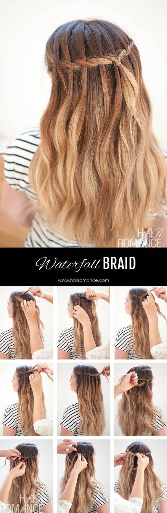 Wasserfall Mermaid Braid Tutorial für langes Haar