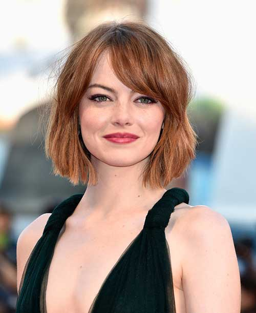 Emma Stone Side Bang Bob