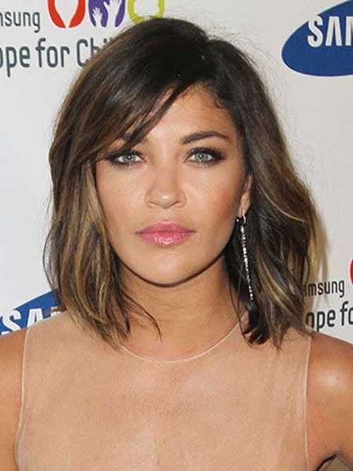 Asymmetrical Long Bob Haircut with Bangs