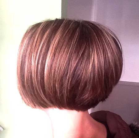 Back View of Simple Bowl Shaped Bob Hairstyle