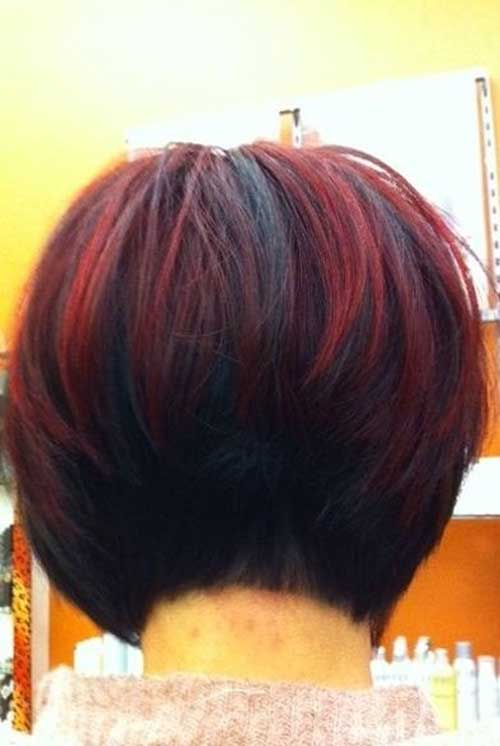 Dark Red Bob Hairstyles Back View