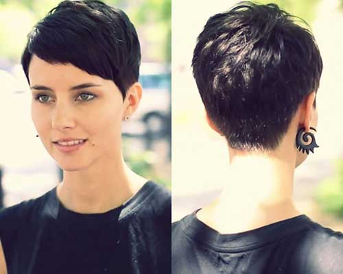 Short Layered Brunette Pixie Cut