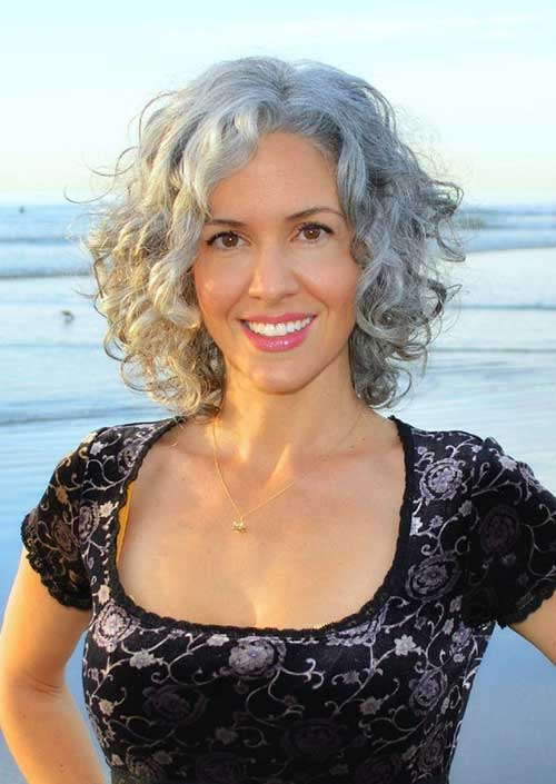 Curly Bob Hairstyles for Grey Hair Ideas