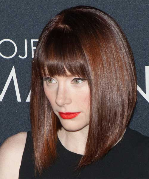 Concave Long Bob with Bangs Hairstyle Ideas