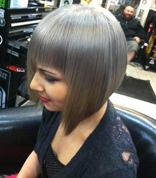 Bob Hairstyles with Bangs for Grey Hair Color