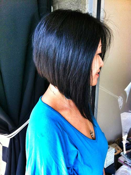 Long Angled Dark Straight Bob Haircuts