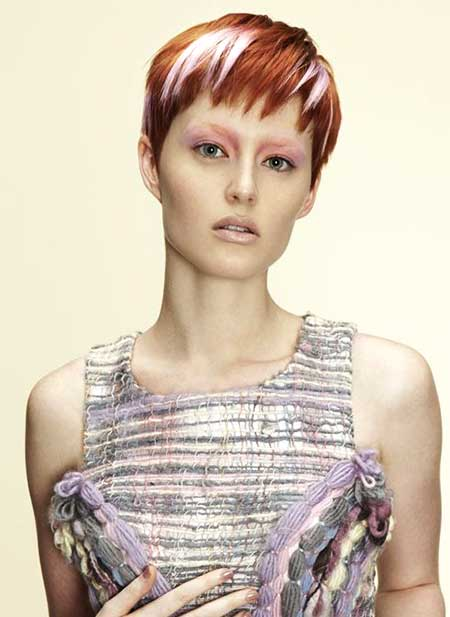Short Colored Boyish Hairstyle for girls