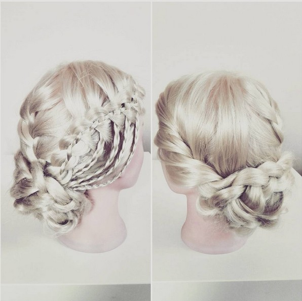 Beautifully Updo Hair Style with Waterfall Braid - Prom Hairstyles 2018