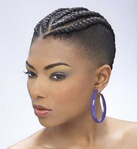 Simple Backward Braids with Bald Hairstyle for Black Women