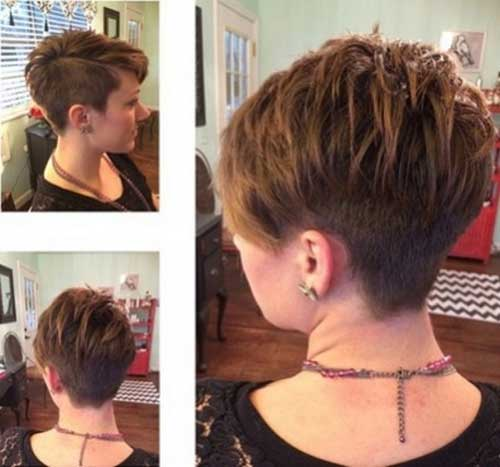 Cool Short Layered Pixie Cut Shaved Side