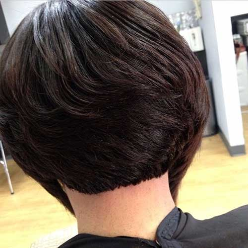 Back View Of Layered Dark Bob Haircuts