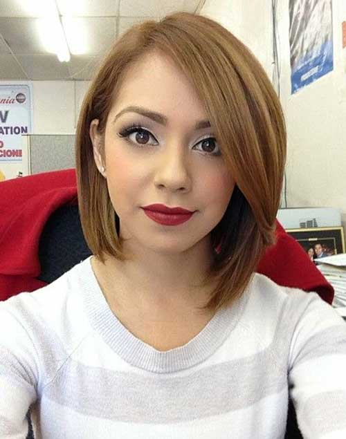 Short Straight Hairstyles with Long Side Bangs