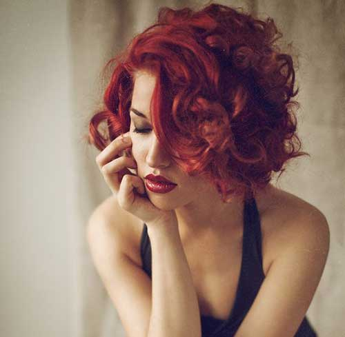 Girls Curly Red Bob Hairstyles