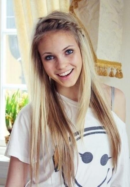 Long Hair with Braid Bangs: Cute Everyday Hairstyle for Girls