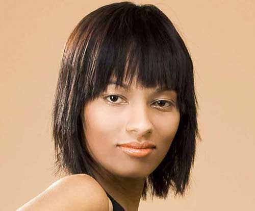 Choppy Thick Bob Haircuts with Bangs