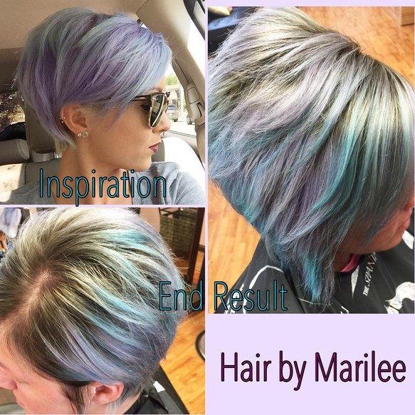 Lavender and pale blue with a darker base