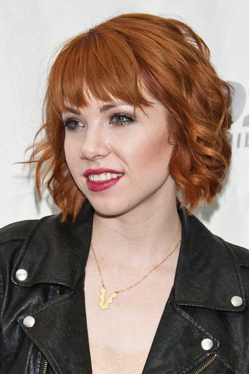 Shaggy Curly Bob Copper Hairstyles with Bangs