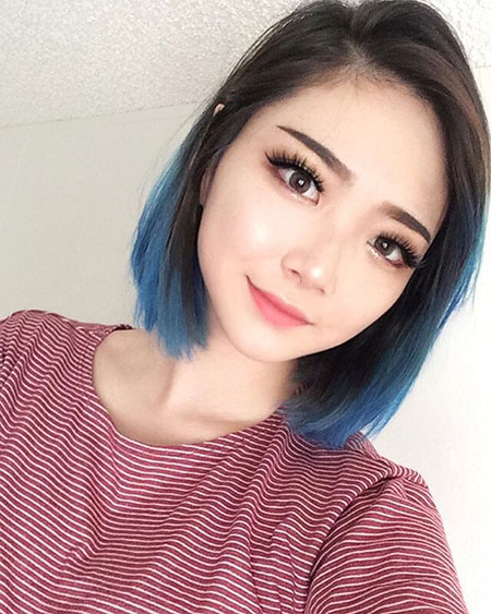 Hair Tips Blue Coloring