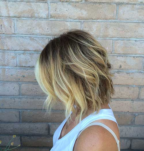 Mid Length Layered Highlighted Bobs