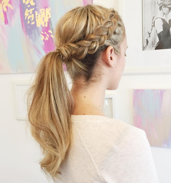 Ponytails with braids on gorgeous girls