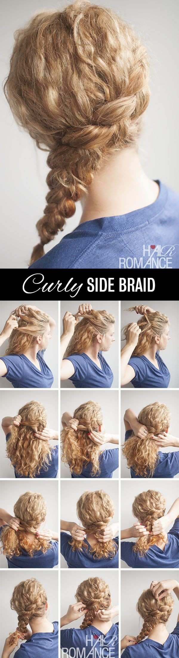 Curly Side Braid Frisur-Tutorial für langes Haar