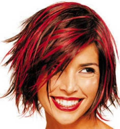 Red Hair with Funky Bob Short Hairstyles