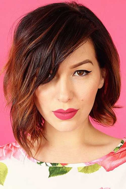 Wavy Angled Ombre Bob with Side Parted Bangs