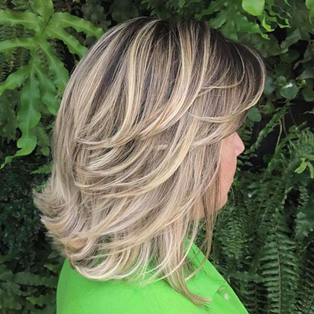 Length Layered Blonde Mid