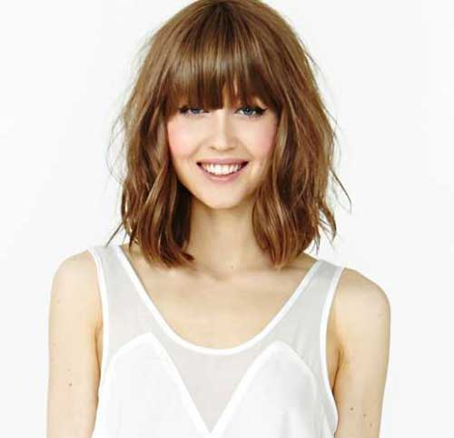 New Long Bob Haircut with Bangs