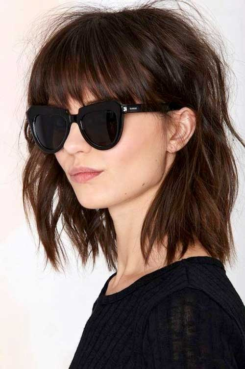 Messy Brown Bob Hair with Bangs