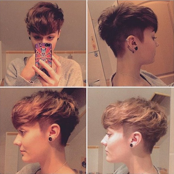 Messy, Shaved Short Haircut - Women, Girls Hairstyle Ideas 2018