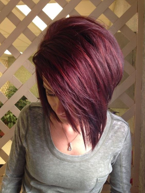 Straight Bob Haircuts with Mahogany Hair Color - Short Hair Styles