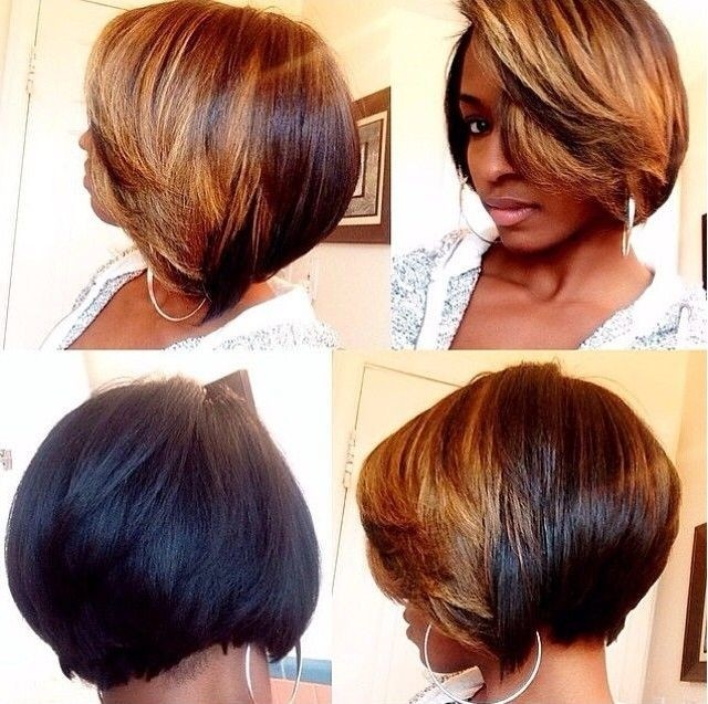 Short thick bob hairstyle for black women