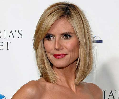 Heidi Klum Long Fine Bob Haircut