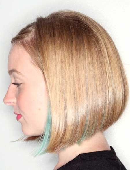 Straight Blonde Haircut with Blue Highlight
