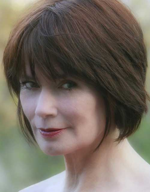 Dark Brown Short Bob Hairstyles for Over 50