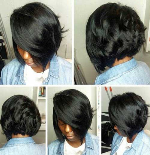 Nice Dark Hair Weave Layered Bob Hairstyles