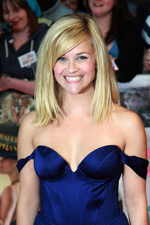 Blonde Hair Long Bob with Side Swept Bangs Ideas