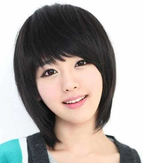 Chinese Dark Bob Cuts with Bangs Images