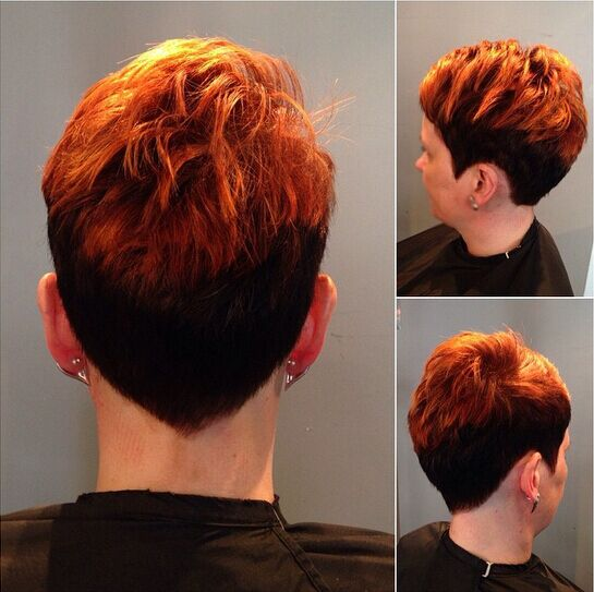 Trendy Pixie Haircut mit Highlights